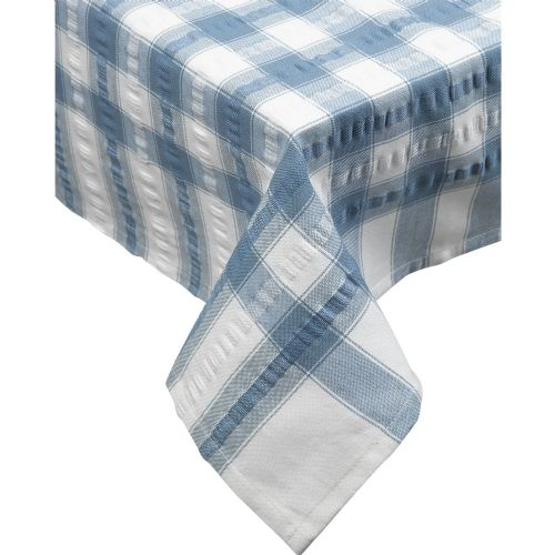 Blue Seersucker Checked Tablecloth 100 % Cotton